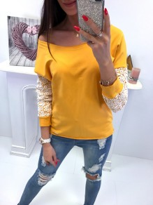 Yellow Patchwork Lace Asymmetric Shoulder Long Sleeve Fashion T-Shirt