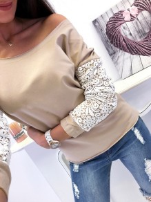 Khaki Patchwork Lace Asymmetric Shoulder Long Sleeve Fashion T-Shirt