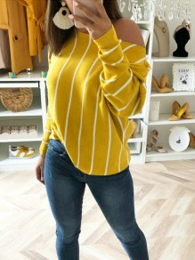 Yellow Asymmetric Shoulder Round Neck Long Sleeve Casual T-Shirt
