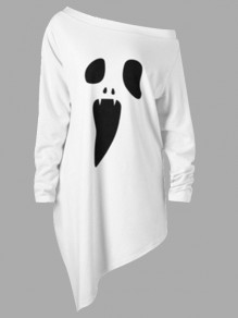 White Ghost Print One Off Shoulder Irregular Oversize Long Sleeve Hallowmas Casual T-Shirt