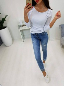 White Lace-Up Drawstring Round Neck Long Sleeve Casual T-Shirt