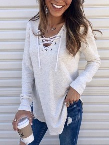 White Lace-Up Drawstring V-neck Irregular Long Sleeve Casual T-Shirt