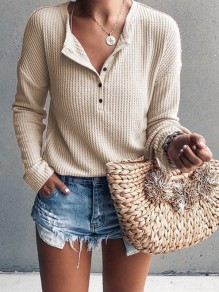 Apricot Single Breasted V-neck Long Sleeve Casual T-Shirt