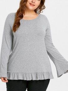 Grey Patchwork Lace Cut Out Ruffle Lace-up Plus Size Round Neck Long Sleeve T-Shirt