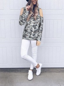 Camouflage Print Cut Out Long Sleeve Round Neck Casual T-Shirt