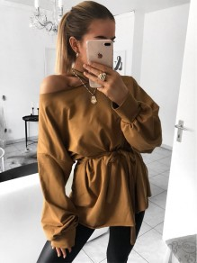 Camel Sashes Bow Long Sleeve Casual Sweet Going out T-Shirt