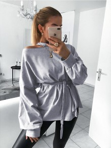 Grey Sashes Bow Long Sleeve Casual Sweet Going out T-Shirt