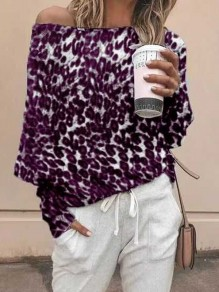 Purple Leopard Print One-shoulder Long Sleeve Casual T-Shirt
