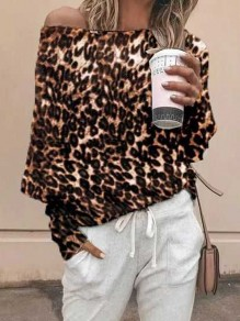 Coffee Leopard Print One-shoulder Long Sleeve Casual T-Shirt