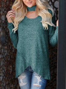 Green Cut Out Irregular Band Collar Long Sleeve Casual T-Shirt