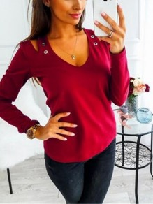 Red Cut Out Sequin V-neck Long Sleeve Casual T-Shirt