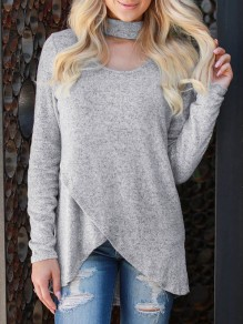 Grey Cut Out Irregular Band Collar Long Sleeve Casual T-Shirt