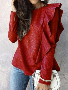Wine Red Ruffle Round Neck Long Sleeve Fashion T-Shirt
