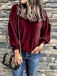 Wine Red Round Neck Long Sleeve Oversize Casual T-Shirt