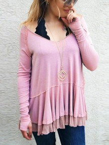 Pink Patchwork Lace Irregular V-neck Long Sleeve Fashion T-Shirt
