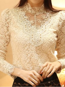 Apricot Patchwork Lace Pearl Round Neck Fashion T-Shirt