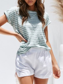 Green Striped Round Neck Short Sleeve Going out T-Shirt