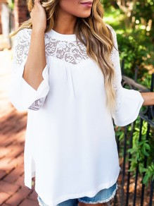 White Patchwork Lace Cut Out Long Sleeve Fashion T-Shirt