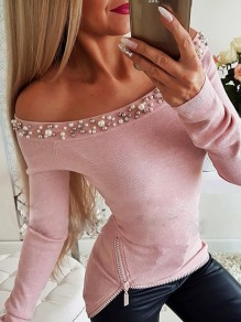 Pink Patchwork Beading Zipper Boat Neck Long Sleeve Fashion T-Shirt