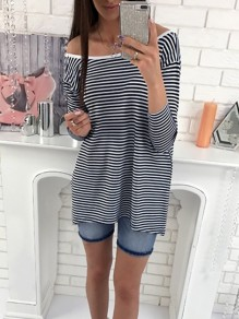 Black Striped Print Boat Neck Long Sleeve Fashion T-Shirt