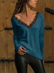 Blue Patchwork Backless Lace V-neck Long Sleeve Fashion T-Shirt