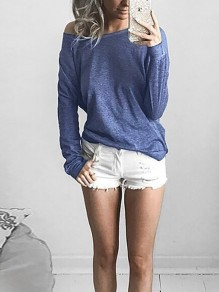 Blue Asymmetric Shoulder Round Neck Long Sleeve Casual T-Shirt