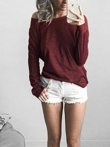 Wine Red Asymmetric Shoulder Round Neck Long Sleeve Casual T-Shirt
