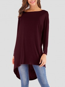 Wine Red Patchwork Asymmetric Shoulder Irregular Long Sleeve Fashion T-Shirt