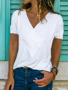 White Ruffle V-neck Short Sleeve Fashion T-Shirt