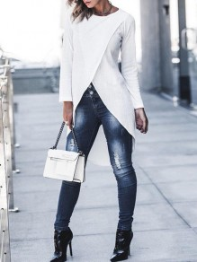 White Irregular Slit High-low Round Neck Long Sleeve T-Shirt