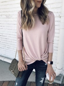 Pink Ruffle Round Neck Long Sleeve Fashion T-Shirt