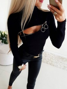Black Zipper High Neck Long Sleeve Fashion T-Shirt