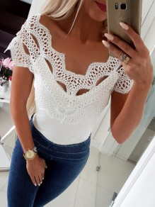 White Patchwork Lace Cut Out Off Shoulder V-neck Short Sleeve Going out T-Shirt