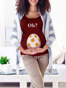 Wine Red Oh Monogram Egg Print Round Neck Short Sleeve Maternity T-Shirt