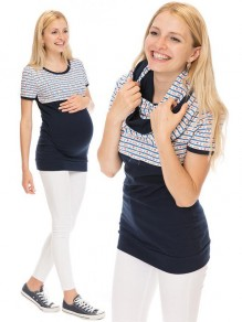 Blue Striped Irregular Short Sleeve Oversized Maternity T-Shirt