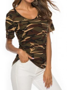 Army Green Camouflage Print Round Neck Short Sleeve Loose T-Shirt