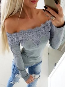 Grey Patchwork Lace Boat Neck Long Sleeve Fashion T-Shirt