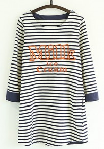 White Striped Embroidery Long Sleeve T-Shirt