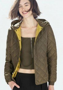 Army Green Plaid Single Breasted Padded Coat