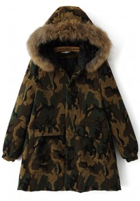 Brown Camouflage Print Drawstring Hooded Padded Coat