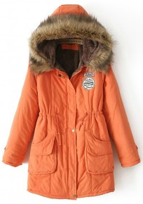 Orange Plain Drawstring Collar With Hat Parka