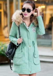 Pea Green Plain Drawstring Collar With Hat Parka