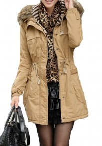 Yellow Plain Buttons Pockets Thick Cotton Padded Coat