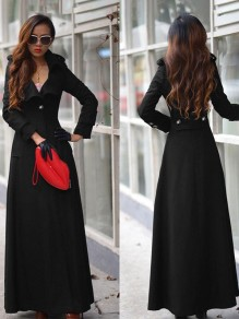 Women's Black Plain Full Length Turndown Collar Wool Blend Slim Military Long Trench Coat