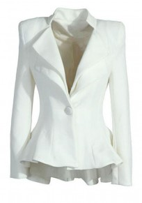 White Plain Swallowtail Double-deck Peplum Lapel Sharp Shoulder Pad Fashion Daily Blazer