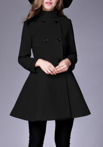 Black Plain Pockets Double Breasted Band Collar Peplum Peacoat Trench Coat
