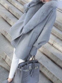 Grey Pockets Faux Fur Turndown Collar Elegant Oversized Wool Coat