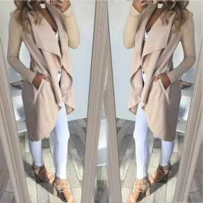 Khaki Irregular Turndown Collar Long Sleeve Casual Coat