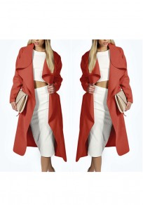 Red Plain Sashes Pockets No Button Casual Coat