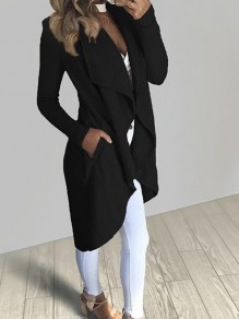 Black Pockets Irregular Turndown Collar Long Sleeve Casual Coat